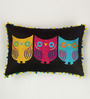 Bombay Mill Black & Colourful Poly Linen 12 x 18 Inch Owl Pattern Embroidery Cushion Cover