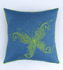 Bombay Mill Blue & Green Polyester 16 x 16 Inch Butterfly Embroidery Cushion Cover