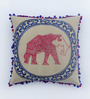 Bombay Mill Multicolour Cotton Linen 16 x 16 Inch Elephant Embroidery Cushion Cover