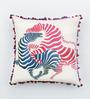 Bombay Mill Multicolour Cotton Linen 16 x 16 Inch Zebra Embroidery Cushion Cover