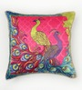 Bombay Mill Multicolour Matt Satin 16 x 16 Inch Embroidery & Peacock Print Cushion Cover