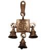 Handecor Brown Brass Radha Krishna Hanging Bell Showpiece