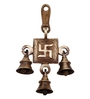 Handecor Brown Brass Swastika Hanging Bell Showpiece