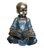 Browse House Bronze & Dark Green Polyresin Reading Small Baby Monk Figurine