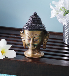 Handecor Multicolour Brass Buddha Head Statue Showpiece