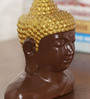 Ethnic Clock Makers Brown Stone Buddha Face Showpiece
