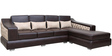 Carol LHS Sofa in Dark Brown Leatherette by Sofab