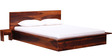 Duvall Queen Bed with Two Bedside Tables in Honey Oak Finish by Woodsworth