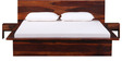Duvall Queen Size Bed with Two Bedside Tables in Honey Oak Finish by Woodsworth