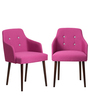 Calascio Buttoned Arm Chair (Set of 2) in Pink Colour with Cappucino Legs by CasaCraft