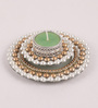 Candles N Beyond Multicolour Metal Mirror Tray with Pearl Beads & Tea Light Holder Stand