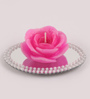 Candles N Beyond Mirror Tray with Rose Floating Candle