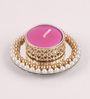 Candles N Beyond Pink Wax Mirror Tea Light Holder