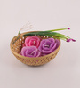Candles N Beyond Rose Candle with Cane Basket - Set of 3