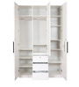 Carol High Gloss Three Door Wardrobe in White & Black Colour by HomeTown