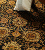 Carpet Overseas Black & Red Wool 120 x 94 Inch Persian Design Hand Knotted Area Rug