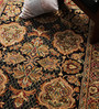 Carpet Overseas Black & Red Wool 72 x 48 Inch Hand Knotted Area Rug