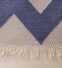 Carpet Overseas Grey & Blue Cotton 72 x 51 Inch Panel Design Flatweave Area Rug