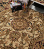 Carpet Overseas Ivory & Black Wool 72 x 48 Inch Persian Design Hand Knotted Area Rug