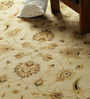 Carpet Overseas Ivory & Brown Wool 122 x 97 Inch Persian Design Hand Knotted Area Rug