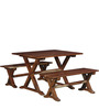 Burgdorf Six Seater Picnic Table Set in Provincial Teak Finish by Woodsworth