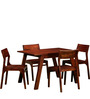 Memphis Solid Wood Four Seater Dining Set in Honey Oak Finish by Woodsworth