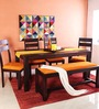 Dallas Six Seater Dining Set in Passion Mahogany Finish by Woodsworth