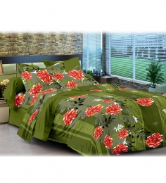 Cenizas Green Floral Double Bed Sheet With 2 Pillow Covers