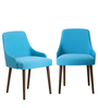 Celano Accent Chair (Set of 2) in Blue Colour with Cappuccino Legs by CasaCraft