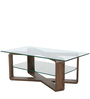 Center Table with X-Frame & Glass Top in Brown Color by Parin