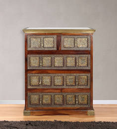 Chest Of Five Drawers With Carved Artwork In Natural Brown Wood Polish By BIC