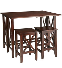 Christopher Foldable Two Seater Dining Set in Brown Colour by Asian Arts