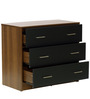 Riku Chest Of Three Drawers in Walnut and Solid Black Finish by Mintwud