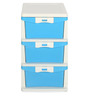 Chester Series 23 Three Drawer Storage Cabinet in Cream & Transparent Blue Colour by Nilkamal