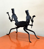 Chinhhari Arts Black Wrought Iron Tribal Candle Stand