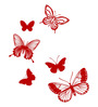 Chipakk Red Polyvinyl Films Butterfly Trail HD Wall Decal