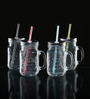 Circleware Glass 480 ML Handle Mason Jar With Lid And Straw - Set Of 4