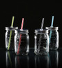 Circleware Glass 480 ML Handle Mason Jar With Silver Lid And Straw - Set Of 4