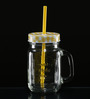 Circleware Glass 480 ML Handle Mason Jar With Straw and Checked Lid