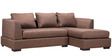 Clarke LHS Pearl Fabric Sofa with Lounger in Brown Colour by Furny