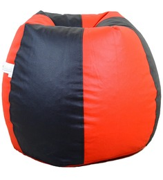 Classic Style Filled Bean Bag In Red N Black Colour By Orka - 1385601