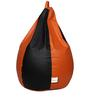Classic Bean Bag Cover without Beans in Black and Orange Colour by Sattva