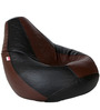 Classic Bean Bag with Beans in Black and Brown Colour by Sattva