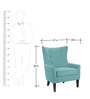 Classic Wingback Accent Chair with Button Tufted Back & Piping in Blue Colour by AfyDecor