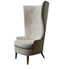 Classic Wingback Chair with a Curved & High Back Style in White Colour by Afydecor