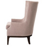 Classic Wing Chair with Nailhead Trims & Sturdy Legs in Brown Colour by Afydecor