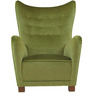 Classic Wingback Chair with Pleated Details in Green Colour by Afydecor