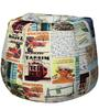 Classic Bean Bag Cover without Beans with Travel Print by Sattva