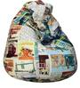Classic Bean Bag with Beans with Travel Print by Sattva