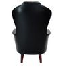 Classy Leatherette Wing Chair in Black Color by Afydecor